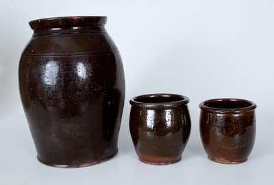 Lot of Three: Manganese-Glazed Redware Jars incl. Example with