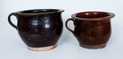 Lot of Two: Early Redware Chamberpots