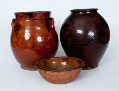 Lot of Three: Redware Vessels incl. Two Jars and One Bowl