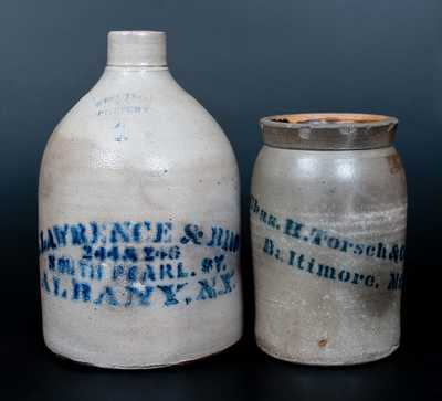 Lot of Two: Stoneware Vessels w/ Stenciled Advertising from BALTIMORE, MD and ALBANY, NY