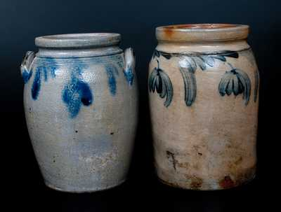 Lot of Two: 1/2 Gal. Stoneware Jars with Hanging Floral Decorations