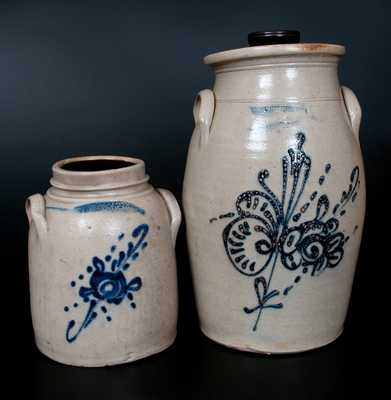 Lot of Two: WHITES UTICA Stoneware with Slip-Trailed Designs incl. 4 Gal. Churn
