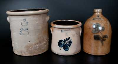 Lot of Three: GARDINER, ME Stoneware Crock with Impressed Swan, RIEDINGER & CAIRE Stoneware Jug, F. B.NORTON Stoneware Crock