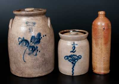 Lot of Three: Stoneware Vessels incl. TROY, NY POTTERY Jar, Lidded Jar att. New York State, German Bottle