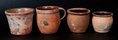 Lot of Four: Redware Vessels w/ Unglazed Exteriors incl. Flowerpot, Handled Jar, and Two Jars