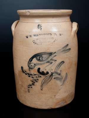 W. A. MACQUOID (New York City) 1 1/2 Gal. Stoneware Jar w/ Bird and Berries Design