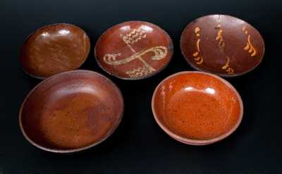 Lot of Five: Redware Dishes and Plates, Three with Yellow-Slip Decoration