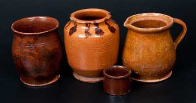 Lot of Four: 2 Redware Jars with Manganese Decoration, Lead-Glazed Redware Batter Pitcher, Small Redware Vessel or Inkwell