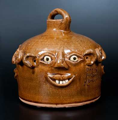 David and Flossie Meaders Four-Sided Stoneware Face Jug