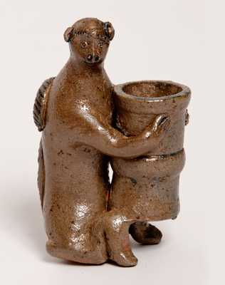 Stoneware Figure of a Monkey Holding a Flowerpot, probably Southern, possibly Decker (Tennessee)
