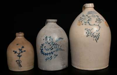 Lot of Three: HART Stoneware Jugs w/ Slip-Trailed Decoration from FULTON and OGDENSBURGH