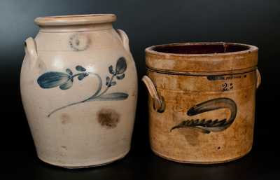 Lot of Two: N. CLARK JR. / ATHENS Stoneware Crocks with Floral Decoration