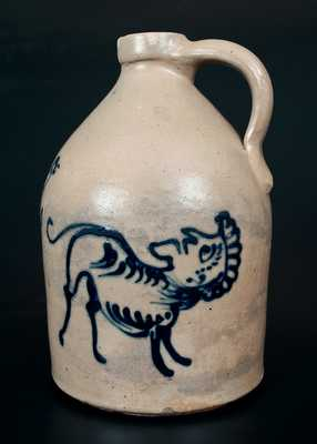 Extremely Rare J. & E. NORTON / BENNINGTON, VT Stoneware Jug w/ Mythical Creature and Bird Designs