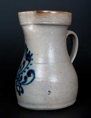 New England Stoneware Pitcher with Slip-Trailed Decoration