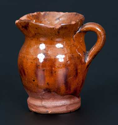 Miniature Redware Pitcher with Manganese Decoration