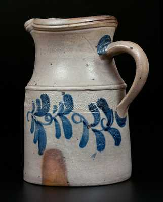 Extremely Rare Stoneware Pitcher w/ Coggled and Brushed Decoration att. Thompson Pottery, Morgantown, WV