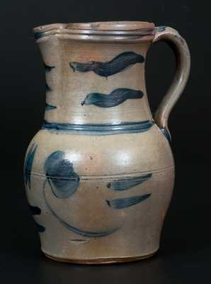 Rare 1 Gal. Stoneware Pitcher with Ornate Brushed Cobalt Decoration, Western PA origin
