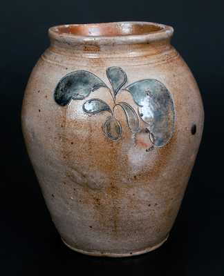 Extremely Rare J. REMMEY / NEW YORK Ovoid Stoneware Jar w/ Impressed Leaves