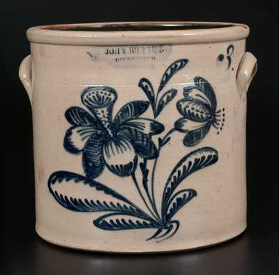 JOHN BURGER / ROCHESTER Stoneware Crock w/ Elaborate Slip-Trailed Floral Decoration