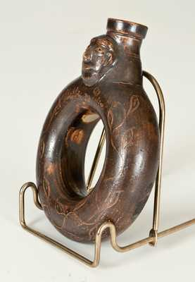Extremely Rare Stoneware Ring Flask / Face Vessel, 1830