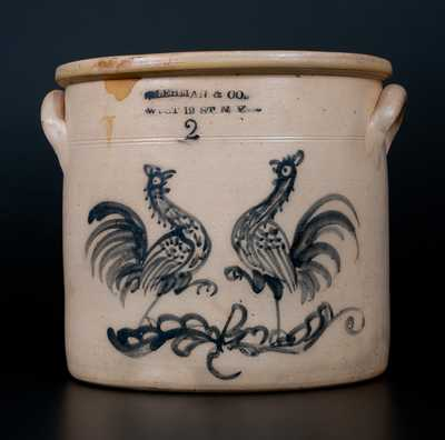 Very Rare L. LEHMAN & CO. / WEST 12TH ST N Y Stoneware Crock Cock Fight Decoration