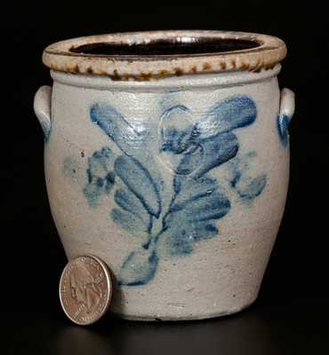 Miniature Stoneware Crock with Floral Decoration, Pennsylvania, possibly Pfaltzgraff