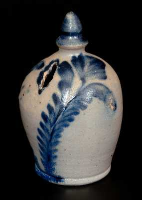 Rare Stoneware Bank with Profuse Cobalt Floral Decoration, Richard Remmey, circa 1870
