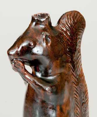 Moravian Redware Squirrel Bottle, Rudolph Christ, Salem, NC, early 19th century