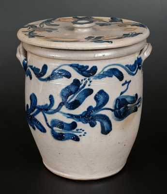 Important JOHN BELL / WAYNESBORO Stoneware Presentation Lidded Crock Dated