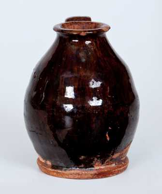 Diminutive Wide-Mouthed Redware Jug, New England origin, early to mid 19th century