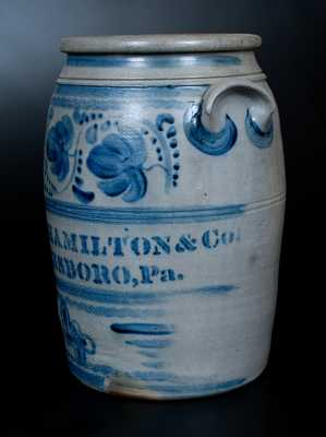 Four-Gallon JAMES HAMILTON & CO / GREENSBORO, Pa. Stoneware Jar w/ Elaborate Cobalt Freehand Decoration