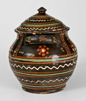 Extremely Rare Alamance County, NC Lidded Redware Sugar Jar, c1790-1810
