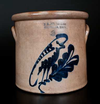 Three-Gallon F.B. NORTON & CO / WORCESTER, MASS. Stoneware Crock w/ Cobalt Parrot Decoration