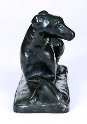 Exceedingly Rare and Important Solomon Bell / Winchester, VA Redware Whippet Figure