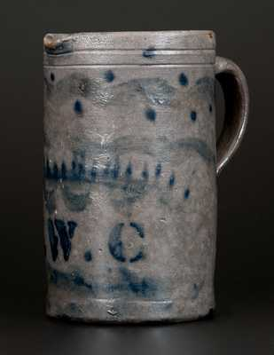 Unusual Decorated Western PA Stoneware Pitcher with Stenciled Initials E. W. C.