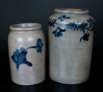 Lot of Two: Mid-Atlantic Stoneware Jars with Cobalt Floral Decoration
