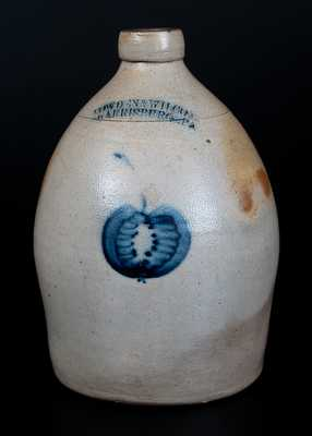 Scarce COWDEN & WILCOX / HARRISBURG, PA Stoneware Jug with Apple Decoration