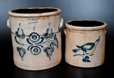 Lot of Two: S. T. BREWER / HAVANA 6 Gal. Stoneware Crock, att. Fulper Bros. (Flemington, NJ) Stoneware Bird Crock