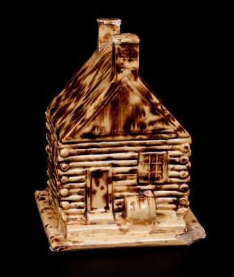 Rare Yellowware Log Cabin Bank,