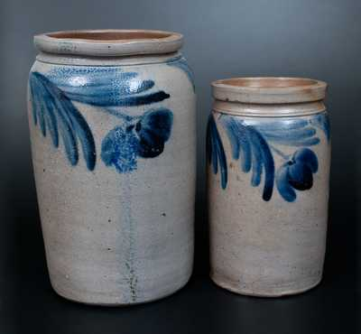 Lot of Two: Stoneware Jars with Hanging Floral Decoration, Baltimore, circa 1860