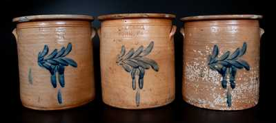 Lot of Three: The P. S. CO. / YORK, PA (Pfaltzgraff Pottery) 5 Gal. Stoneware Crocks w/ Nearly-Identical Decorations