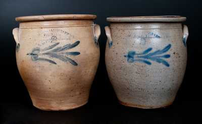 Lot of Two: Two Gal. H. B. PFALTZGRAFF / YORK, PA Stoneware Jars w/ Nearly-Identical Decorations