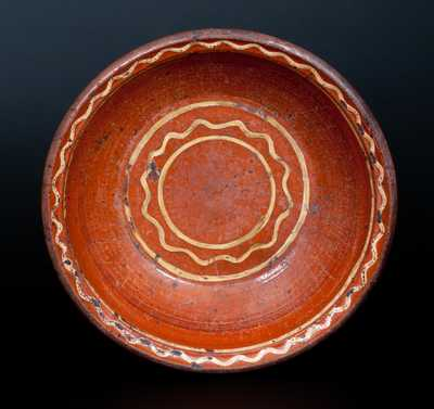 Redware Bowl with Yellow Slip-Decorated Interior, possibly Hagerstown