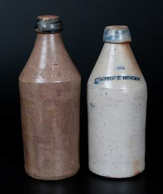 Lot of Two: Stoneware Bottles with Cobalt-Dipped Spouts, 1874 / COMSTOCK COVE and Boston Root Beer / F. GLEASON