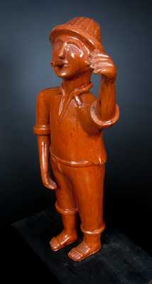 Very Rare Extremely Large Detailed Redware Figure of a Man
