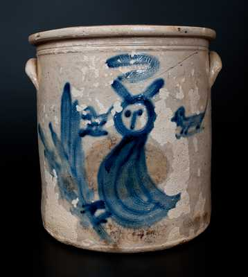 Extremely Rare H. B. PFALTZGRAFF / YORK, PA Stoneware Crock w/ Owl and Dogs Decoration