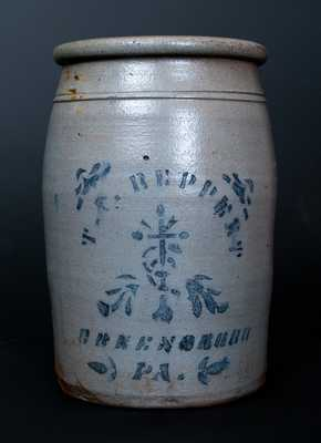 1 Gal. T. F. REPPERT / GREENSBORO, PA Stoneware Jar with Cross Decoration