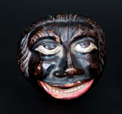 Unusual Cold-Painted Redware African American Face Bank