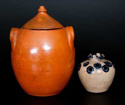 Lot of Two: North Carolina Redware incl. JUGTOWN Lidded Jar and Flower Frog att. Hilton Pottery