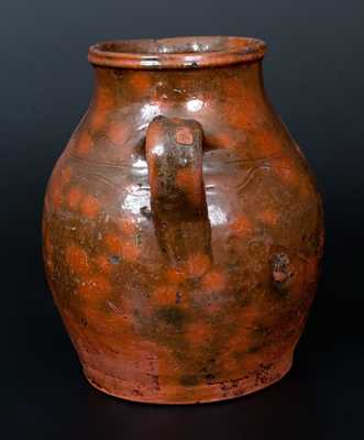 Open-Handled Redware Vase, probably New England, first half 19th century